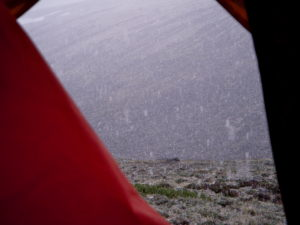 It snowed the day after our tent blew over!